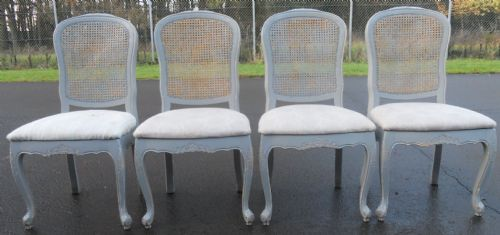 SOLD - Set of Four Painted Bergere Back Dining Chairs